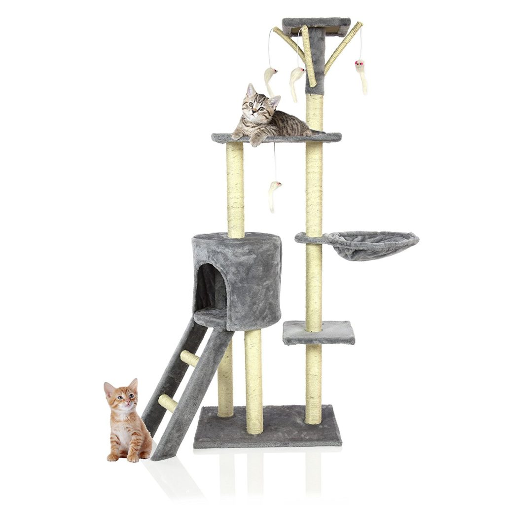 cool cat tree furniture. this cool cat tree comes with 4 dangling toy mice which will drive your crazy. the pouches are perfect for those precious naps and if wants furniture a