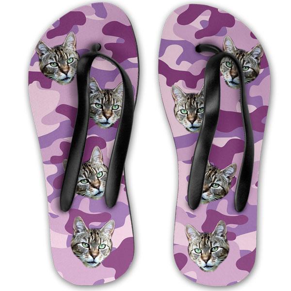 710c8b2da0f4 Personalised Camo Cat Flip Flops - Pawsify